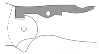 BACK LOCK Układ blokujący umieszczony na tylnej części rękojeści. Wykorzystuje wahacz obracający się w środku. Występ na jednym końcu ramienia sprzęga się z wycięciem w trzpieniu ostrza, aby zablokować ostrze w pozycji otwartej.