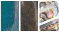 NATURALNE MATERIAŁY Naturalne materiały, takie jak osadzona kość, skóra, macica perłowa, stabilizowane drewno i kamień, są używane do produkcji i ozdabiania uchwytów.